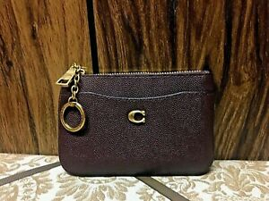 Coach-68334-leather-zip-clutch-wallet-oxblood-small-money-coin-card-case-New