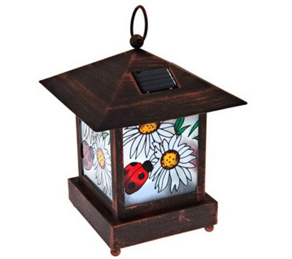 QVC Solar Stained Glass Garden Decor Lantern Stake Light W Shepherd Hook  Ladybug