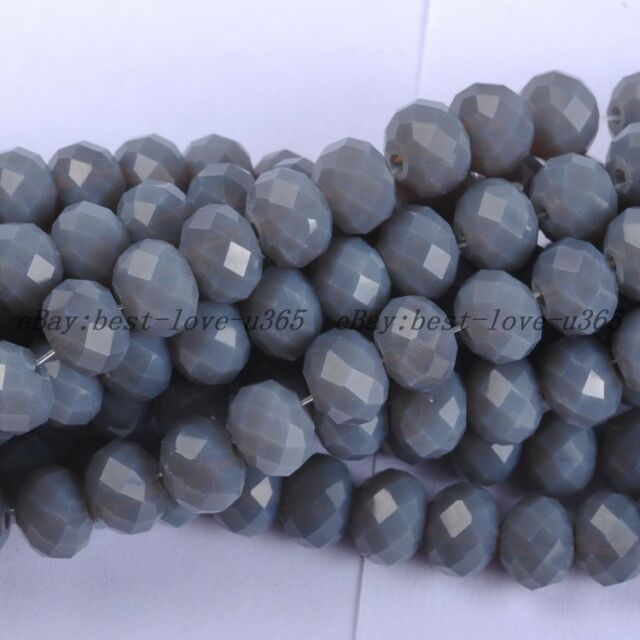 100Pcs Opaque Gray Czech Crystal Faceted Rondelle Spacer Beads 6MM