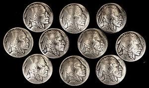 "10 Buffalo Nickel Concho Buttons - 3/16"" Chicago Screw Back - I - BIN"