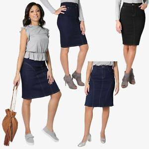 Womens-Denim-Pencil-Skirt-Vintage-A-Line-Ladies-Classic-Knee-Long-Size-8-18