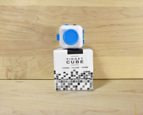 New White /& Blue  Full Fidget Cube 6 side anxiety stress attention relief toy