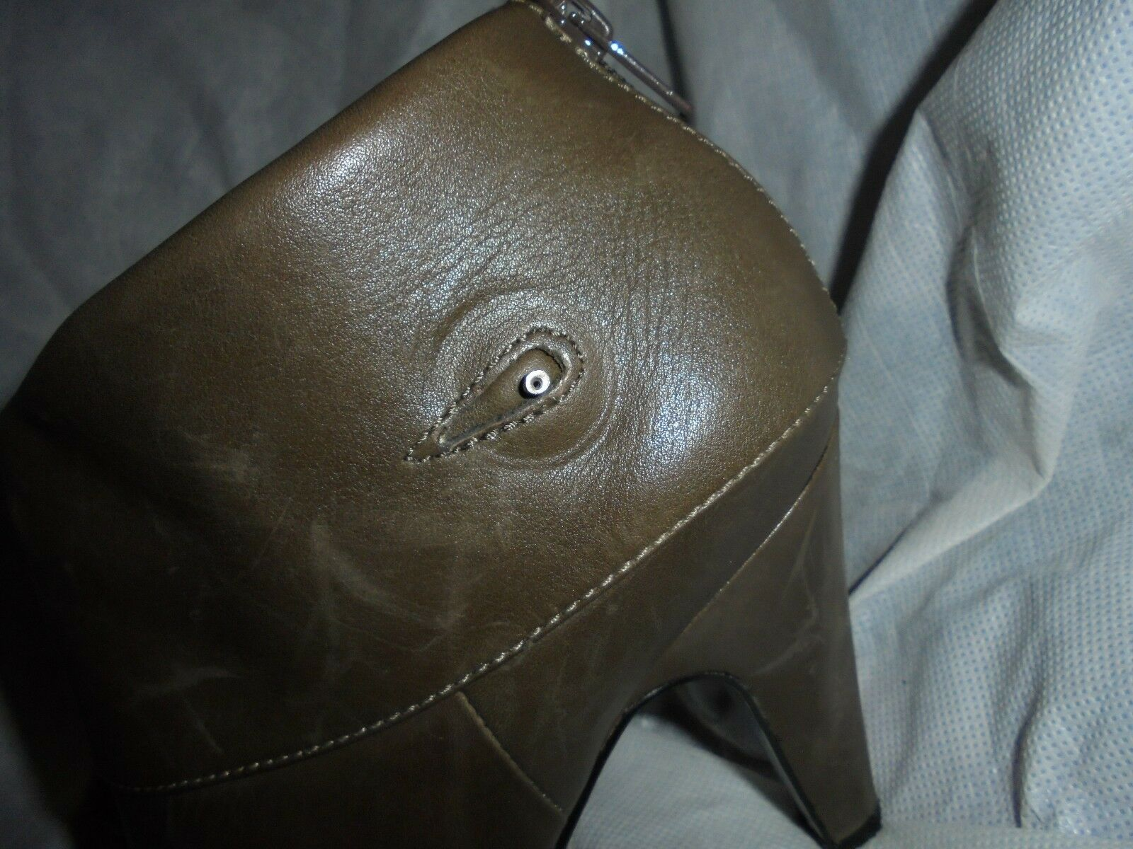 ASH LADIES WOMEN OLIVE LEATHER ZIP UP KNEE HIGH BOOT 37 SIZE UK 4 EU 37 BOOT  VGC 38e8a0