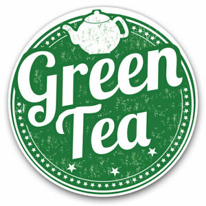 2-x-Vinyl-Stickers-10cm-Green-Tea-Healthy-Organic-Tea-Cup-Cool-Gift-5171