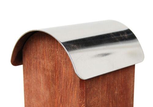 Pfostenkappe Zaunkappe Edelstahl für abgerundete Pfosten 9x9 cm