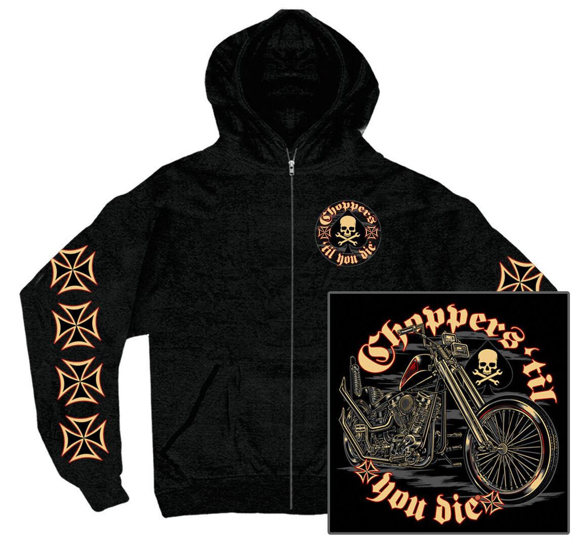 Croce Maltese biker hoodie Chopper till you i biker backprint USA Rocker