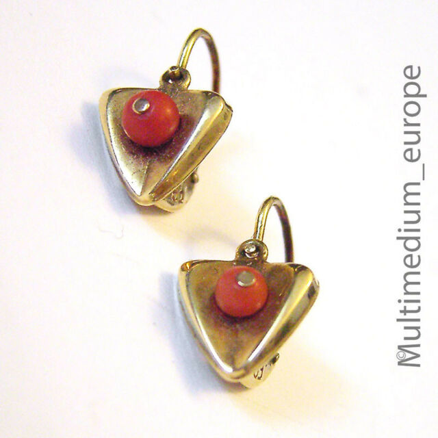 585 er Gold Ohrringe Koralle Herz 14ct 14kt yellow gold earrings coral Gelbgold