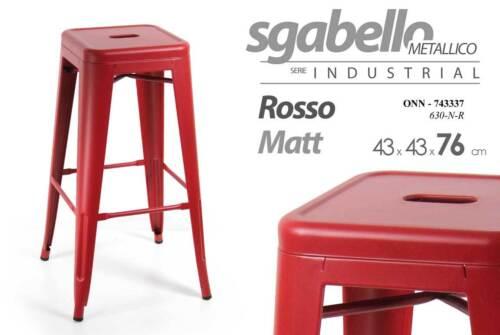 Sgabello metallico serie industrial rosso matt cm tolix