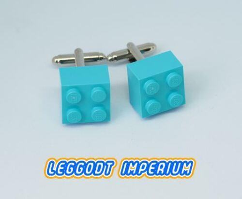 minifig scale FREE POST Aqua Blue LEGO Custom Brick Cufflinks
