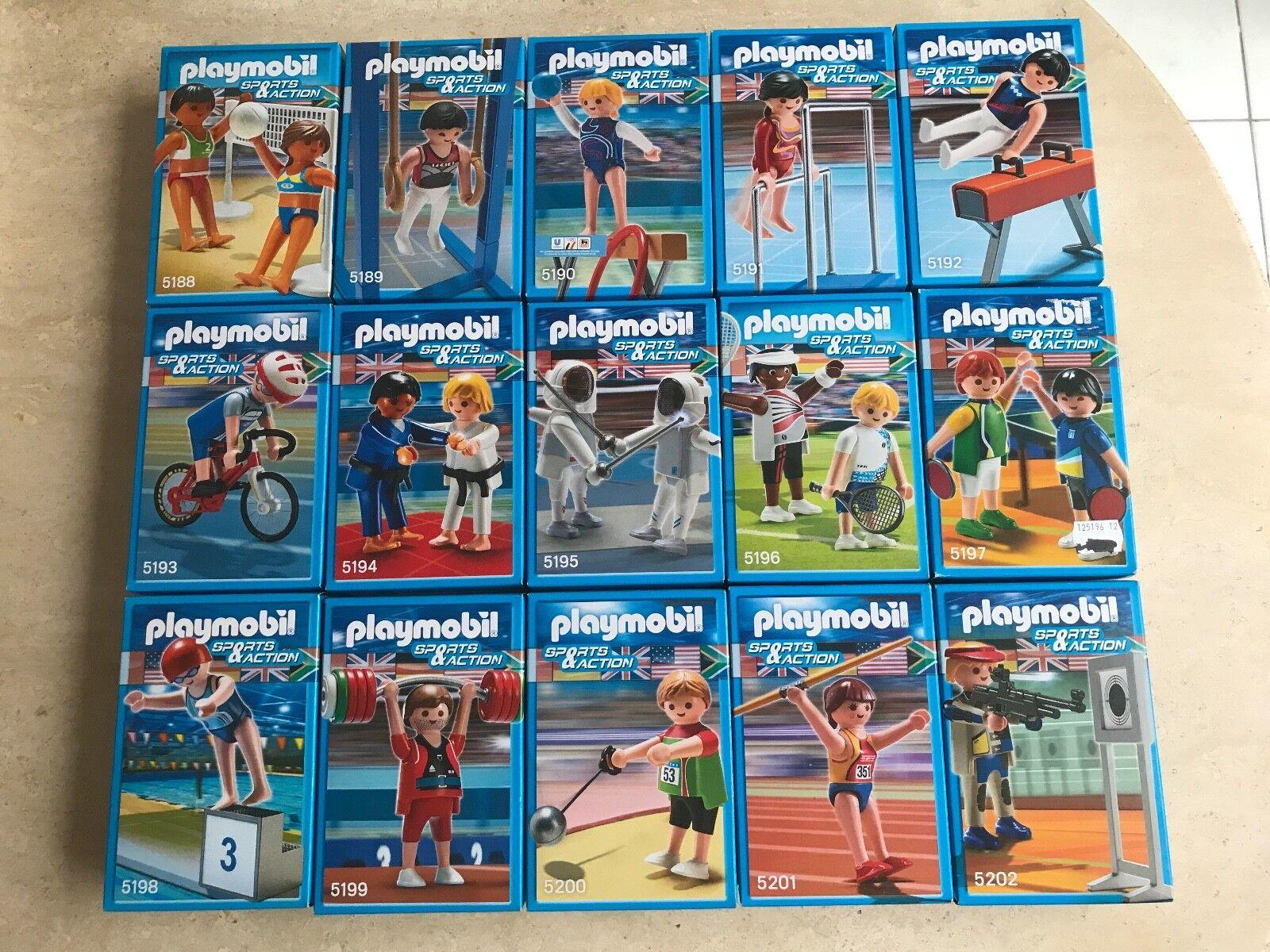 COLLECTION COMPLETE  PLAYMOBIL  - JEUX OLYMPIQUES LONDRES 2012  15 BOÎTES  RARE