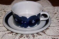 Arabia of Finland - Anemone Blue - Flat Cup & Saucer (Older Backstamp & Signed)