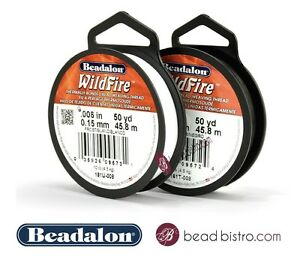 WILDFIRE (.008in) Beading Thread by Beadalon 50 YD / 125 YD - BLACK / FROST