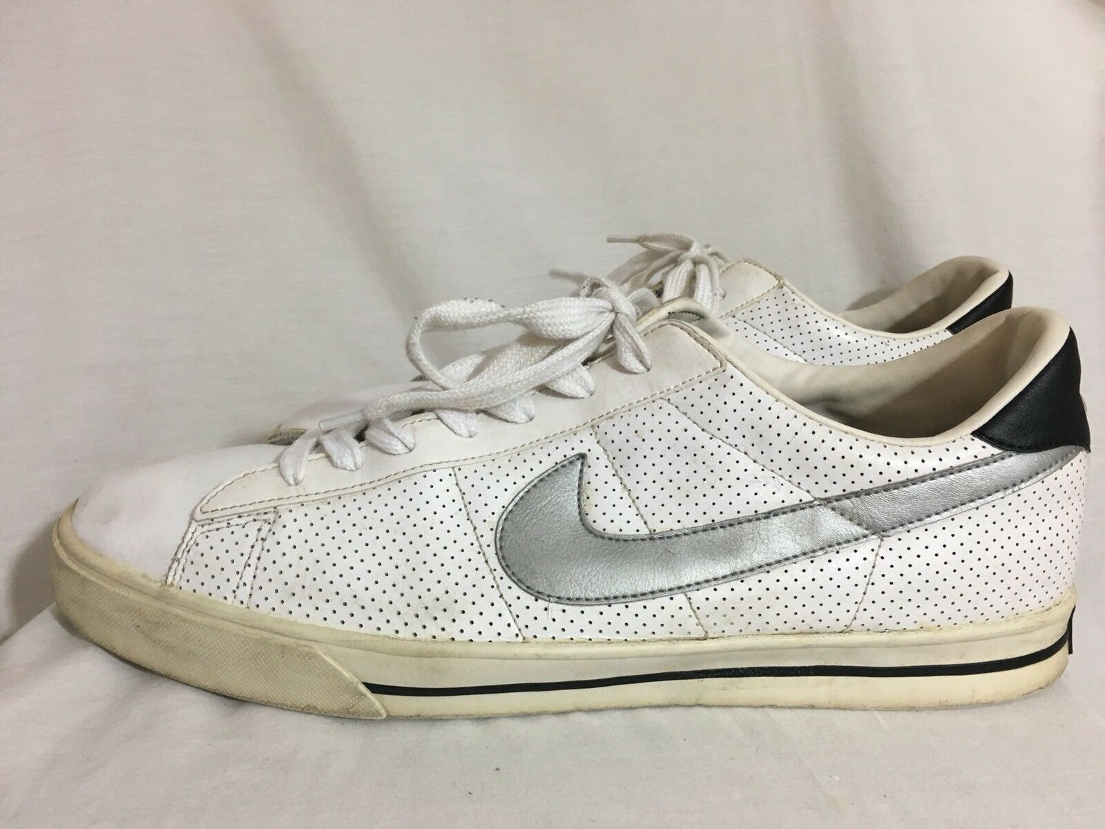 NIKE Leather Classic Tennis Shoes 318333 White W/ Gray Swoosh Lace up Comfortable Cheap women's shoes women's shoes