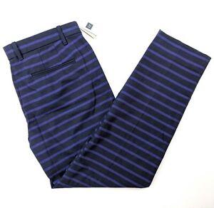 Gap-Slim-Cropped-Stretch-Pants-Blue-Black-Striped-Size-6-NWT