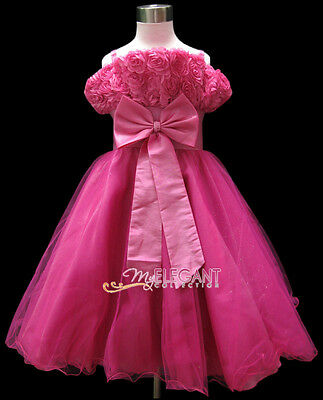 Hot Pink Rosette Pageant Wedding Flower Girl Party Dress Gown Size 3-12 Age 2-13