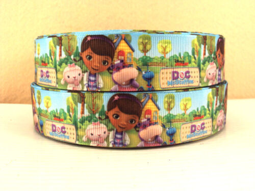 2 METRE DOC MCSTUFFINS FRIENDS RIBBON SIZE INCH BOWS HEADBANDS HAIR CLIPS CAKE