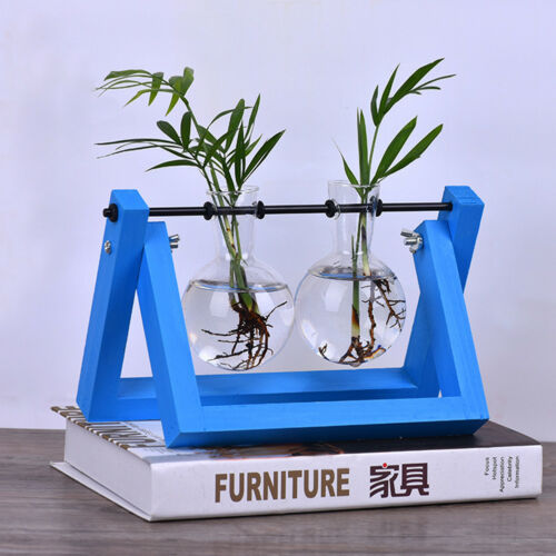 Bulb Glass Planter Vase Terrarium Flower Plant Container With Wooden Stand 3AB7
