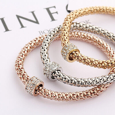 3pcs Women Fashion Ctue Charm Rhinestone Bead Elastic Bracelets Bangles
