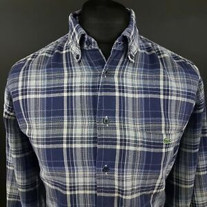 Lacoste-Mens-Vintage-THICK-Shirt-43-LARGE-Long-Sleeve-Blue-Regular-Fit-Check