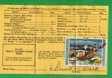 INDIANA 1973 Resident Hunting, Fishing & Trapping License RW40 Duck Stamp - 357