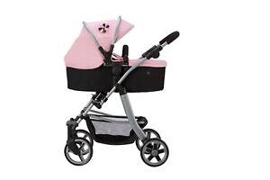 Silver Cross Pioneer 5 in 1 Dolls Pram - Vintage Pink Fabric 7107101829929