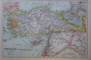 1919-MAP-TURKEY-AYRIA-SMYRNA-KASTAMUNI-CONSTANTINOPLE-GREECE-DAMASCUS