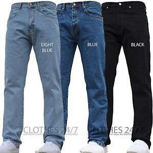 NEW-MENS-BASIC-DESIGNER-REGULAR-FIT-JEANS-WORK-PANTS-WAIST-LEG-BIG-KING-SIZES-A1