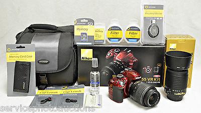 NIKON RED D3200  - DELUXE 11x  VR Zoom Kit w/ 2 Nikon VR Lenses & MUCH MORE!