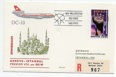 1975 Nations Unies Swissair Volo Geneve-instambul C/1594 Volume Groot