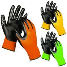 3 Pairs Safety Work Gloves Nitrile Coated Garden Mechanics Heavy Duty Latex Free
