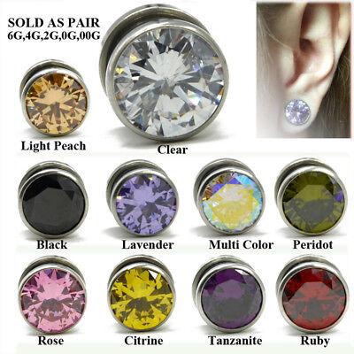 Sold as a Pair White//Black Glass-Gems Encircle Screw-Fit Ear Gauge Tunnel Plug