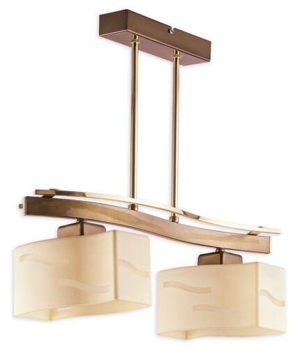 Pendentif 2 lumières plafonnier-laiton//or//crème abat-jour en verre-moderne sona