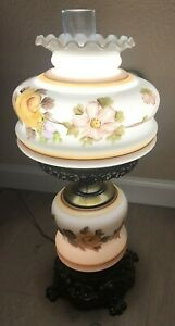 VTG-1967-GIM-3083-Hurricane-Table-3-Way-Hand-Painted-Floral-Design-Ht-22-in