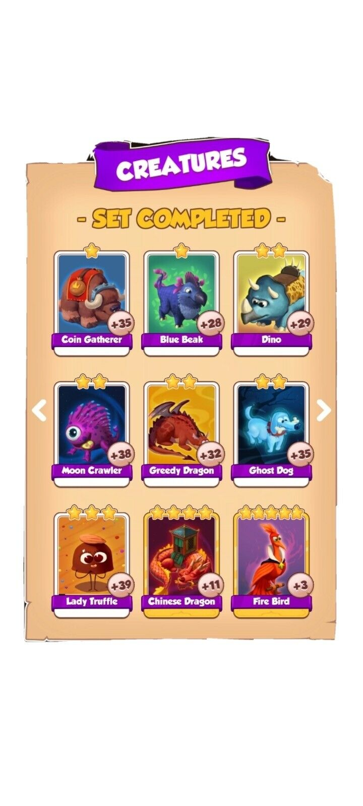 Coin Master CREATURES Full Set White Cards... (Fast Send)