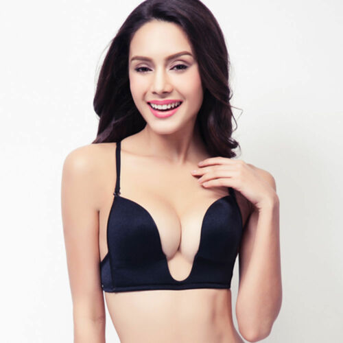 Ultra Deep U Push Up Bra Plunge Lingerie Lightly-Padded Low Back Underwire A-E