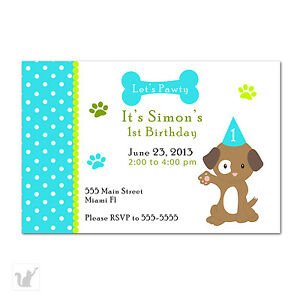 30 cute puppy dog turquoise birthday party invitation invite card