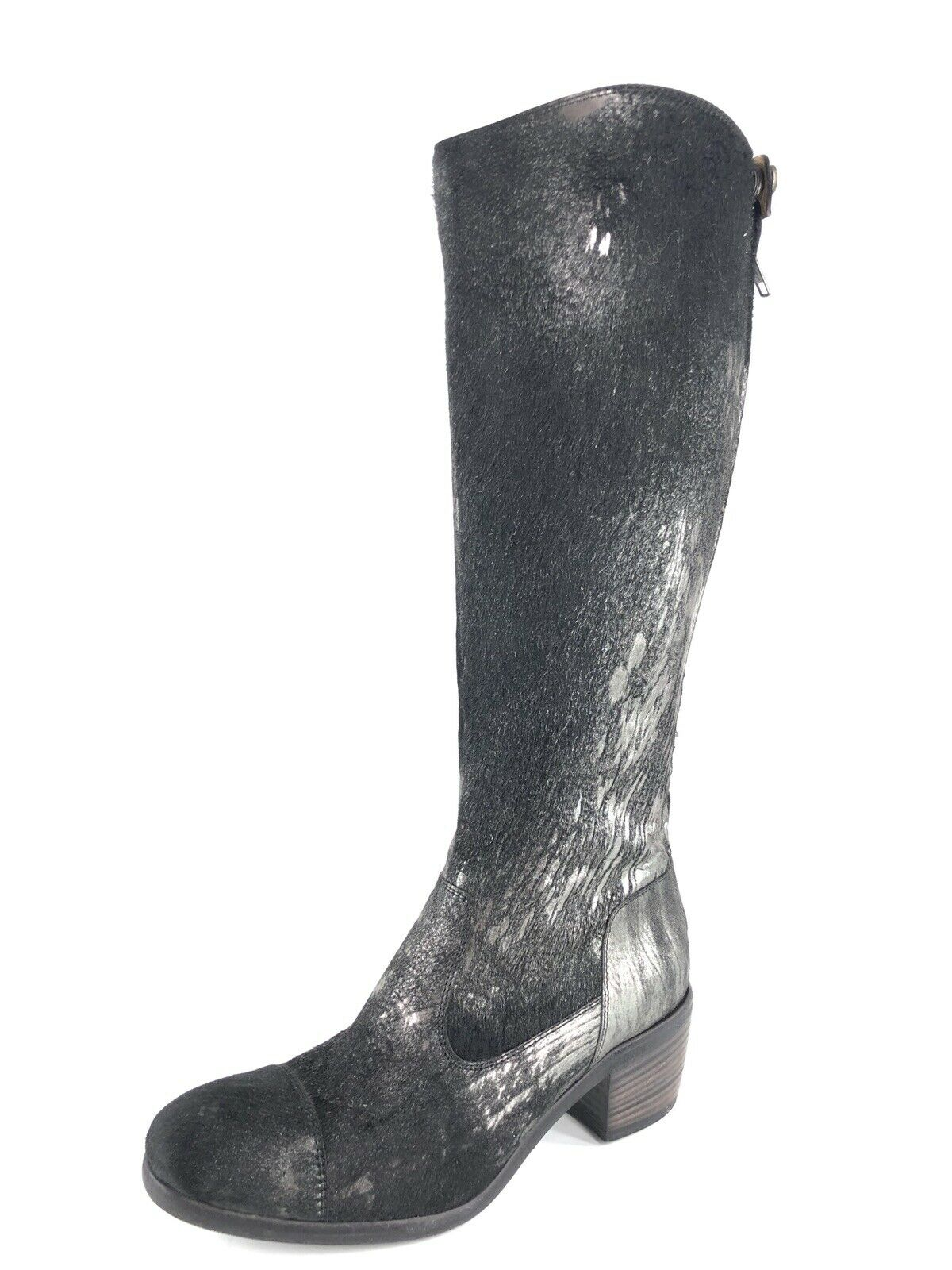 FRYE Felicity Women's Black Metallic Calf Hair Tall Leather Boots Size 6.5 M