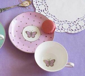 Bombay-Duck-Miss-Darcy-Bird-Butterfly-Teacup-amp-Saucer-in-Rose-Pink-Tea-Cup