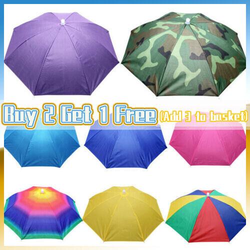 Foldable Fishing Umbrella Hat UV Protection Camping Outwear Beach Sun Head Cap