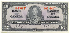 Bank of Canada 1937 $10 Ten Dollars Coyne - Towers King George VI AU Prefix E/T