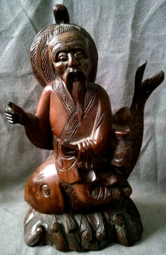 Vintage Chinese Hand Carved WOOD FIGURE Old Man Sits on Big Fish Statue