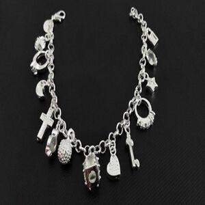 Sterling-Silver-Filled-Fashion-Women-13-Charm-Pendant-Beautiful-Bracelet-Jewelry