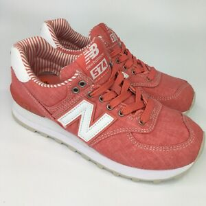 low priced b7b0f 861bc Details about New Balance 574 WL574CHE Womens sz 5.5 Spiced Coral Beach  Chambray Red Pink Run