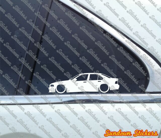 2X Lowered car outline stickers - for Bmw E36 3-series M3 328i Sedan 4-Door