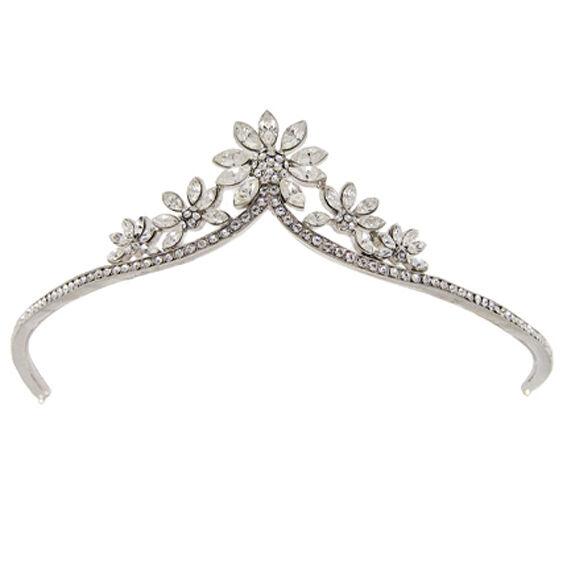 Butler and Wilson Clear Crystal Daisy Tiara Wedding Silver Tone New