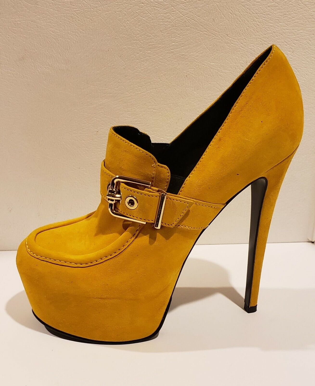 Fred Segal Feet Mayfair Mustard Yellow Suede Platform Buckle Stiletto Lofer  795