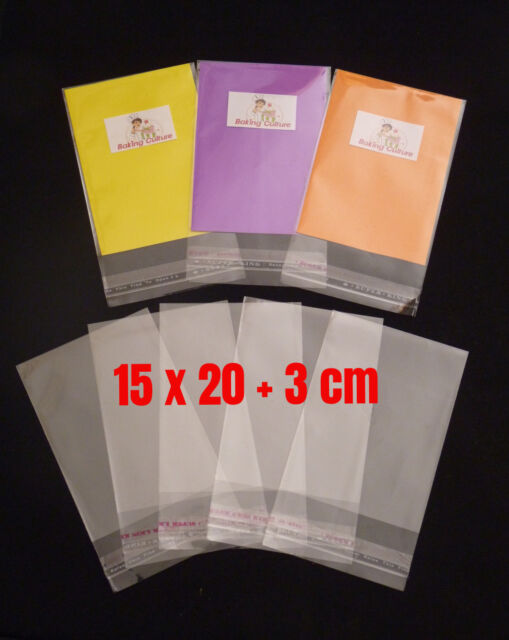 50 CELLOPHANE BAGS - 15 cm x 20 cm +3 cm lip - SELF SEAL - Free Postage