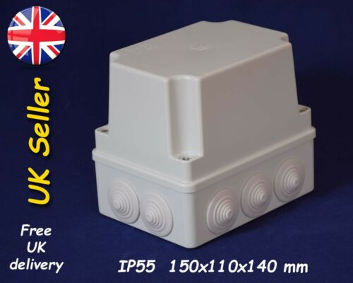 weatherproof enclosure 150x110x140mm IP55 deep lid 10 grommets PVC junction box