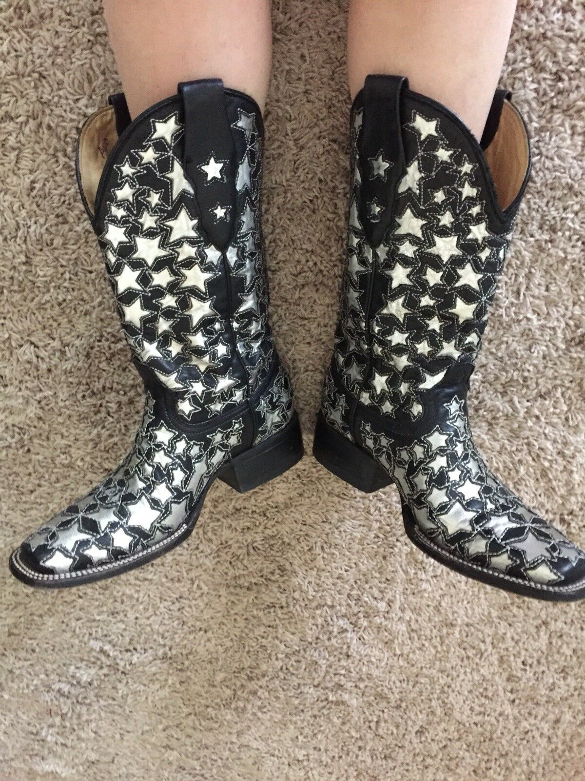 argent Star Glitter Corral Cowboy bottes bottes bottes Runway Stage Art Glam Rock Avant Garde b47208