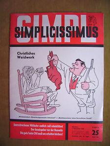 """simplicissimus-chrétien Weidwerk (magazine-nº 25 Du 3. Décembre 1966)""-s - Christliches Weidwerk (heft-nr. 25 Vom 3. Dezember 1966)"" Fr-fr Afficher Le Titre D'origine"
